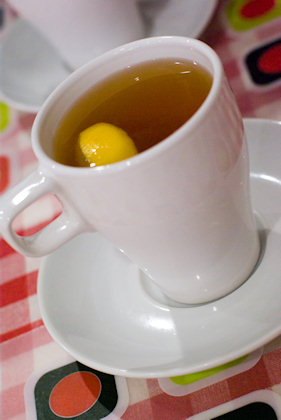 ... hot lemon tea in IKEA's porcelein cup.