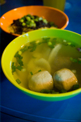 ... soup with beef balls, meat and cow's stomach.