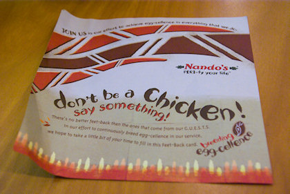 ... first time I see from Nando's Chickenland.