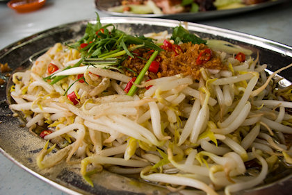 ... bean sprouts as the healthier dish on the table.
