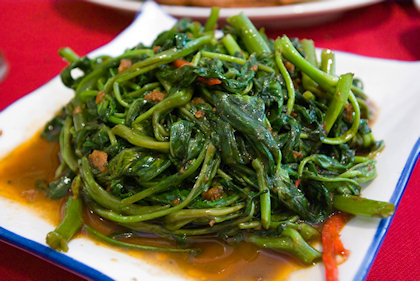 ... fried water spinach in belacan.