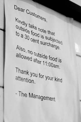 ... each item of outside food will be charged.